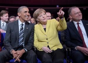 オバマ大統領とメルケル首相。ハノーバーメッセHPより